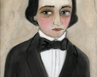 Victorian Portrait,  Gift for Architect, 19th Century Man, Portrait Art Print, Looking for Love (6x8) Sebastian