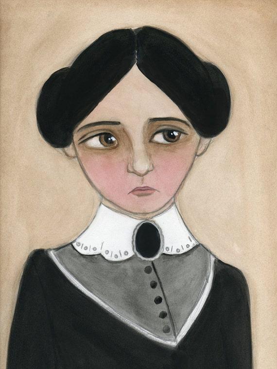 Victorian Portrait, Miss Amelia, Women's Rights Activist Illustration, Watercolor Painting, Portrait Art Print, (6x8)