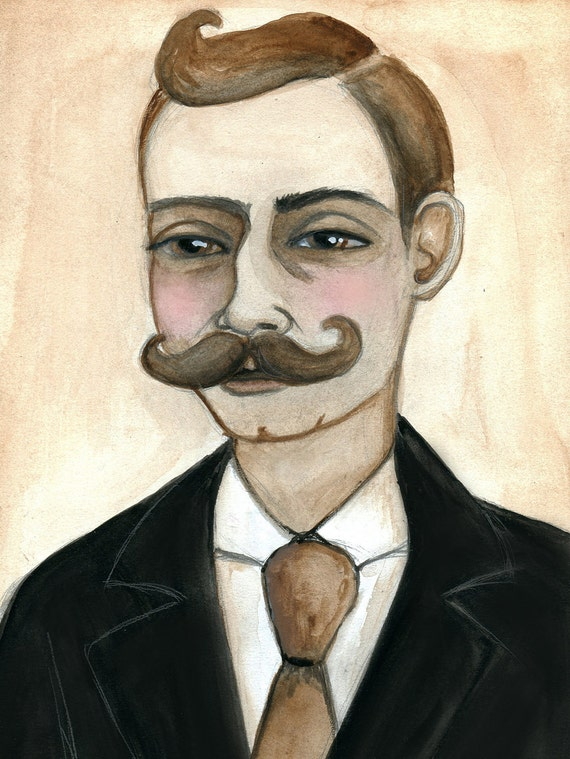 Edwin - Rich Victorian Gentleman with Mustache Watercolor Illustration Portrait (6x8) 19th Century inspire wall art print