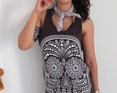 Mexican AZTEC Death Skull Skeleton Goth Punk  Rock Print Tank Top M