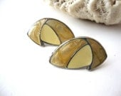 Vintage Enamel Earrings / Sale 75% Off / Beige & Yellow / Silver Tone / Abstract Shapes