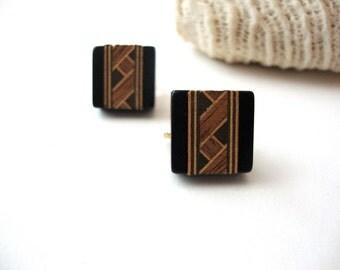Vintage Artisan Earrings : Tiled Floors vintage handmade tiled geometric square clip on earrings