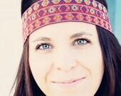 SALE The Mosaic Boho Headband, Indie, elastic closure, Bohemian Printed Mosaic Design, Bold style