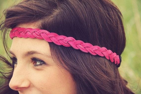 Boho Band- Bohemian Braid Headband in PINK, Indie style, elastic closure, Braided Headband READY TO Ship