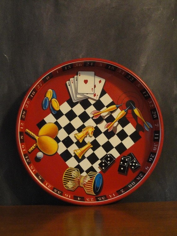 Vintage Retro Serving Tray Bingo Poker Cards-Man Cave-Games Night-Bar Tray-Game Themed