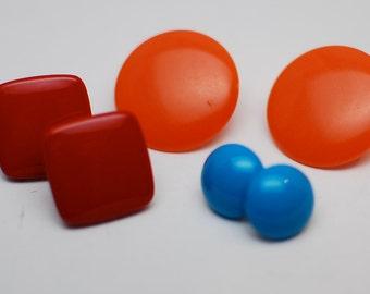 Red, Orange, and Blue Mod Pierced Earrings