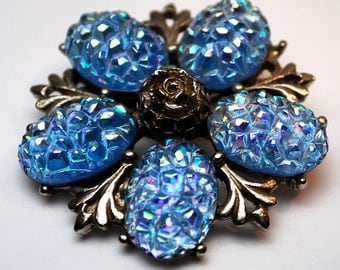 Opalescent Blue and Silver Costume, Floral Jewelry Brooch