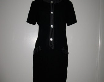 CLEARANCE  Evan-Picone Vintage Black and White Dress Short Sleeve Shell Buttons 1980s S/M