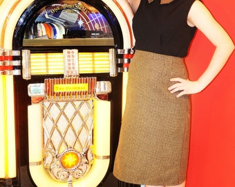 SALE One of a kind Mad Men 50s inspired pencil skirt and sleeveless top with contrasting peter pan collar