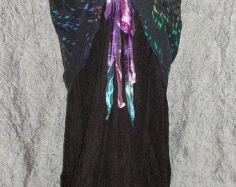 Steampunk Black Fishtail Skirt with Bustle Overskirt