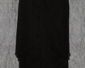 Black Crinkle Chiffon Silk Maxi Skirt