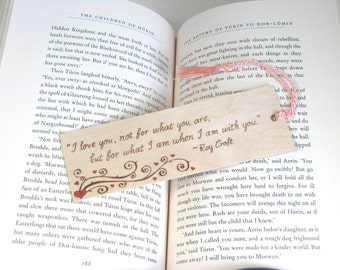 Wooden bookmark - Hand Pyrography - Love Quote