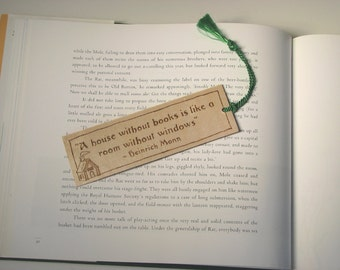 Wooden Bookmark - Hand Pyrography - Heinrich Mann Book Quote