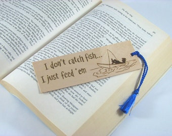 Fishing Wood Bookmark - Hand Pyrography - Fishing Quote