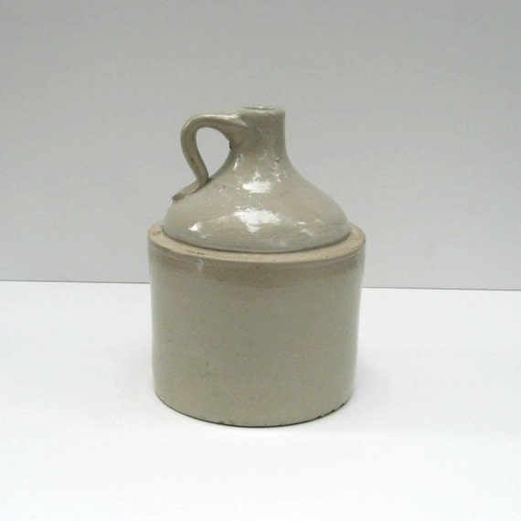White Stoneware Whiskey Jug Crock - Primitive - Rustic Decor - Antique Jug