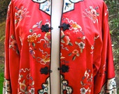 Reserved for royal blue 1960s vintage Authentic Red Kimono Smoking Jacket with Ornate Oriental Floral Embroidery.redux vintage