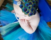 Baby Headband -  Peacock Feathers - Rhinestone Bling - Infants - Toddlers - Big Girls - You Choose Elastic Color