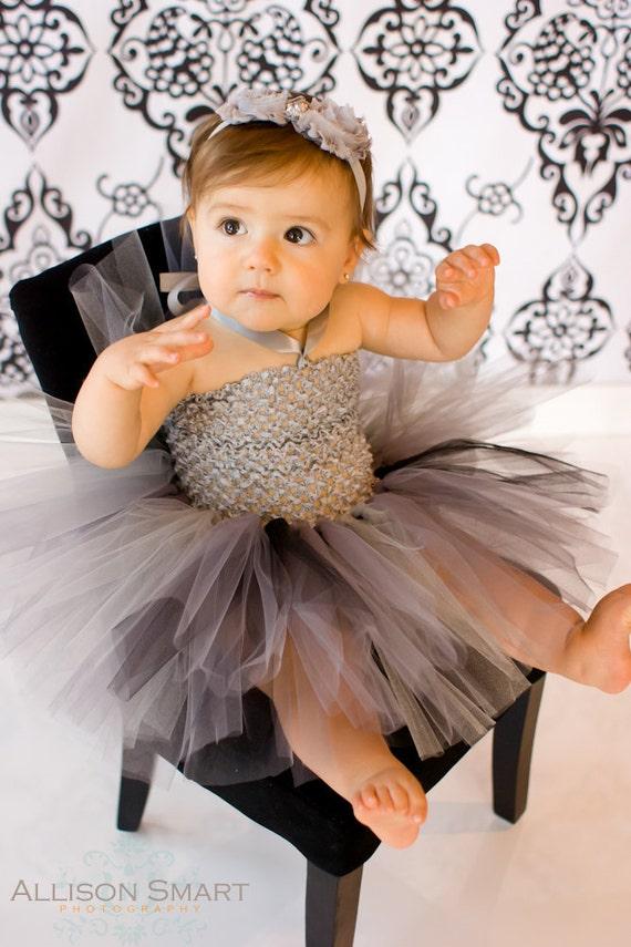 Tutu Dress, Baby Girls, Silver Gray Black, Crochet Bodice, 3 6 9 12 Months, Satin Halter Ties