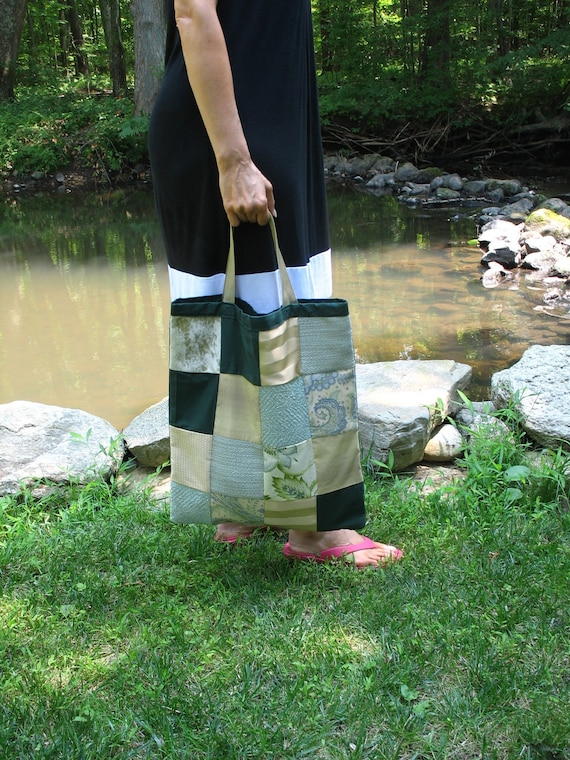 Shades of Green one-of-a-kind patchwork bag with pockets
