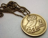Owl Necklace - Greek OWL COIN NECKLACE - owl of Athena necklace - phoenix - owl jewelry - phoenix necklace - vintage Greek 2 drachma coin
