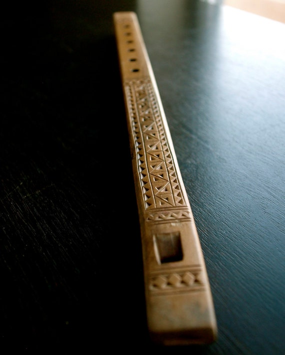 Traditional Yugoslavian Folk Art - Hand Carved Duct Flute or Shepard's Flute