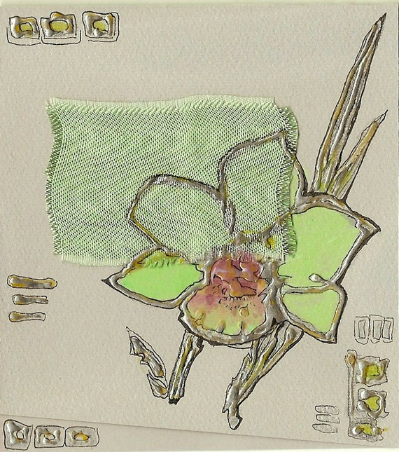 Light green orchid flower- blank greeting card for any event