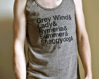Game of Thrones // Direwolves of Winterfell Unisex Tank Top // Grey Wind and Lady and Nymeria and Summer and Shaggydog and Ghost