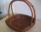Antique Ikebana Bamboo Japanese Split Handle Double Weave Basket