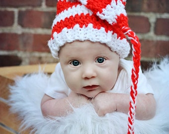 Elf hat red and white stripe. Multiple sizes available. Made to order
