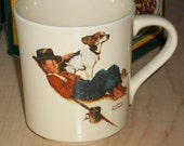 SALE - A Boy and His Dog Norman Rockwell Coffee Cup