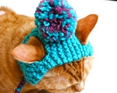 Pom Pom Cat Hat - Teal and Pink - Hand Knit Cat Costume (READY TO SHIP)