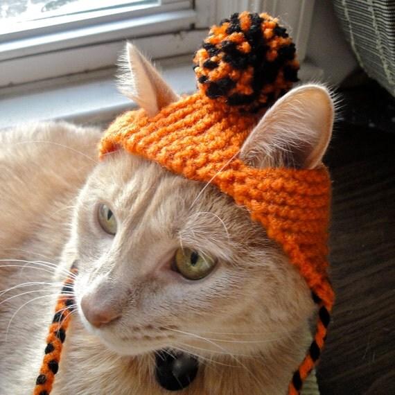 Pom Pom Cat Hat - Orange & Black - Hand Knit Cat Costume