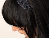 Midnight Blue Beaded Knot Headband- Hair Accessory