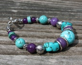 Sale Gemstone  Beaded  Bracelet Turquoise, Amethyst Jade and Aventutine with Antique Silver plated beads