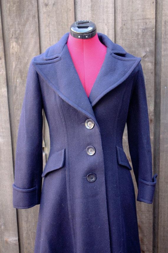 Women's Vintage 1950's Navy Blue Princess Cut Wool Coat Small