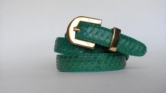 Vintage teal genuine snake skin belt
