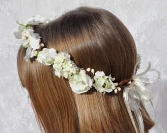 Silk Flower Wreath, First Communion Wreath,Wedding Flowers, Ivory Sweet Pea, Hydrangea with Berries, silk flowers in Holly's Flower Shoppe.