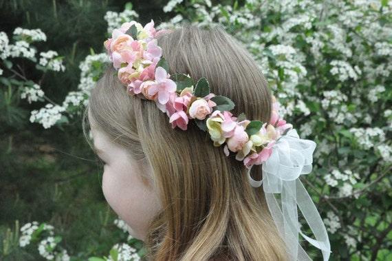 Silk Flower Girl Wreath, First Communion Crown, Wedding Flowers, Pink Hydrangea, Roses flower halo by Holly's Flower Shoppe.
