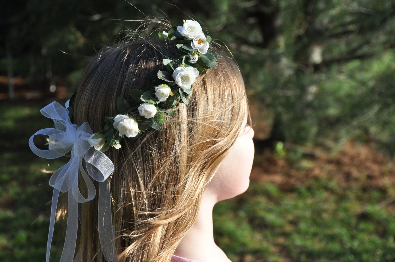 Bridal Flower Wreath For Hair : Wedding flowers flower girl hair wreath by hollysflower pe