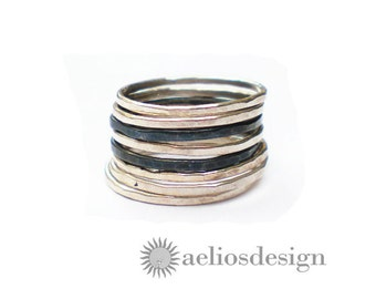 Set of 7 Stacking Rings Sterling Silver Oxidised