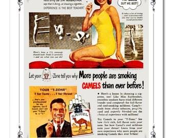 Funny 1940's Camel Ad Cigarette Advertisement Classic Art Print - 8x10