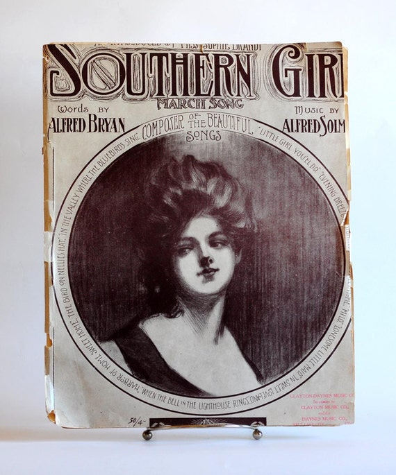 Art Nouveau Piano Sheet Music Southern Girl Classic Song from early 1900's