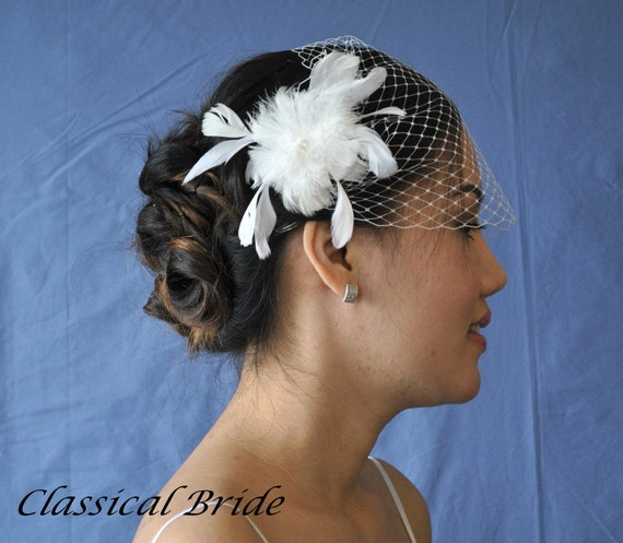 Bandeau 900 -- VEIL SET w/ PEARL Feather Flower Fascinator Hair Clip & Ivory or White Birdcage Blusher 9 Inch Veil for bridal wedding