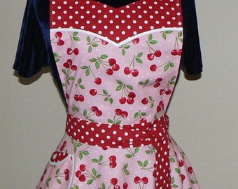 "1950s Circle Skirt Apron ""Pink Cherry Dot"" sweetheart neckline, flirty pin up apron, hostess apron, Valentine's Day, made to order"