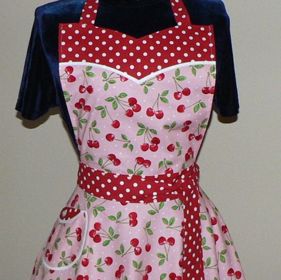 "1950s Circle Skirt Apron ""Pink Cherry Dot"" sweetheart neckline, flirty pin up apron, hostess apron, Valentine's Day"