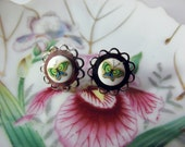 Butterfly post earrings made with vintage glass butterfly cabochons Daisy style earrings