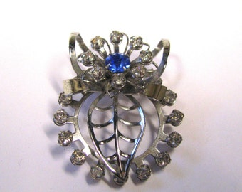 Vintage Rhinestone Brooch Sapphire blue Clear rhinestones silver tone wear or repurpose