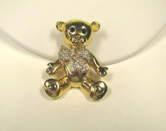 Vintage Teddy Bear Brooch with Crystal Rhinestones, In Gold tone metal, Figural Brooch