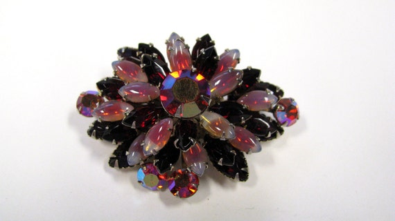 Vintage Red Glass Rhinestone Layered Brooch, Stunning, Wear or Repupose