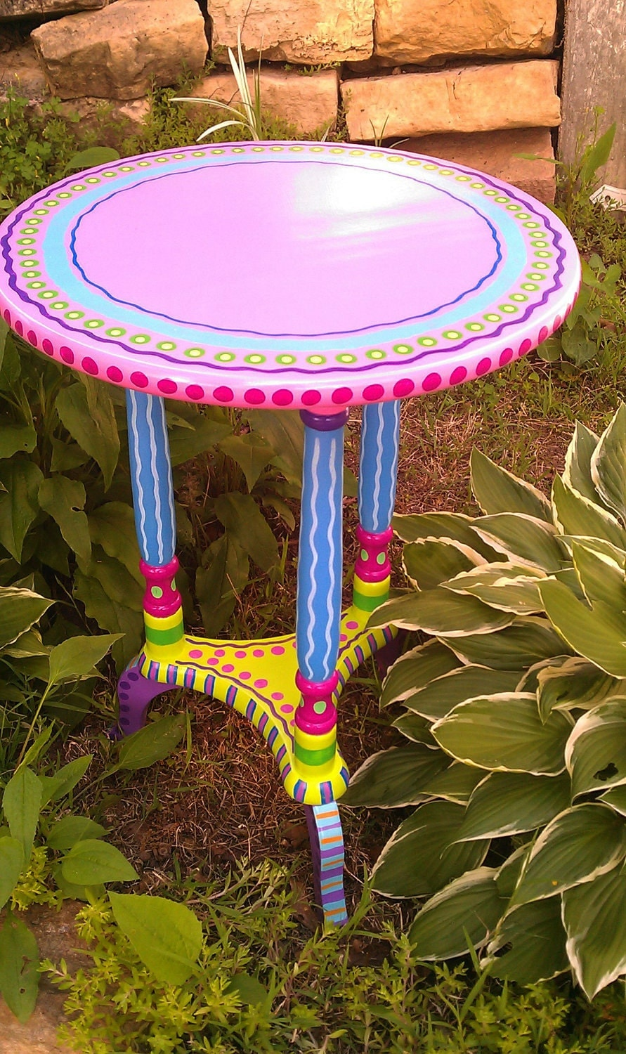 SOLD sample of CUSTOM WORK Side Table Hand Painted Furniture